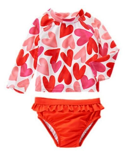 NWT Gymboree Ruffled Heart Rash Guard Swimsuit Set NEW Hearts Rashguard 4T