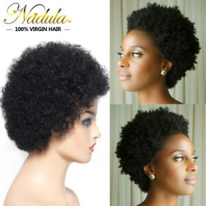 4 Color Short Afro Kinky Curly Remy Brazilian Human Hair Soft Fluffy Full Wigs