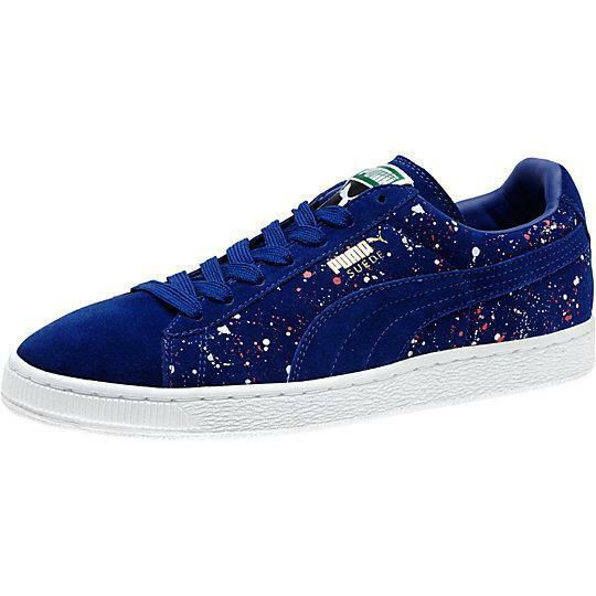 PUMA SUEDE CLASSIC SPLATTERED FORM 358288 02 MAZARINE blueE-WHITE-TEABERRY PINK