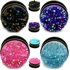 1x-DRUZY-Stone-amp-Titanium-PVD-Black-Steel-Ear-Plug-Screw-Up-Flesh-Tunnel-E44