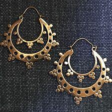 Tribal Design Half Moon Hoop Earrings in Brass