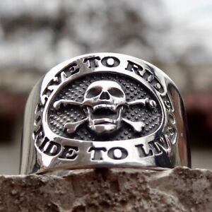 Harley Davidson EAGLE Ring LIVE TO RIDE..RIDE TO LIVE Sz 6-13 FREE SHIPPING