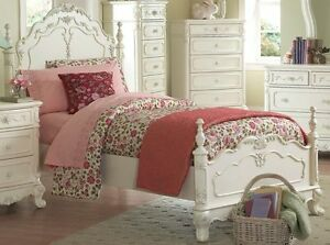 Details about DREAMY ANTIQUE WHITE TWIN YOUTH GIRL\'S BED BEDROOM FURNITURE