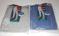 Hanes Mens Classic Flat No-rub Seams Thermal Pant Blue & Gray 2xl/46-48' X 2