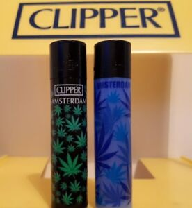 Clipper Lighters 2 Cool Rare Amsterdam Black Top Leaf Green Blue Weed Smoke Gift