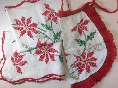 vintage table runner apron poinsettia embroidered crochet edge 3 pc set Xmas