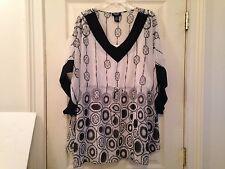 2pc Liz & Me 2X Top Blouse Career Tie Dye Ikat Sheer Lined Kimono Black White O4