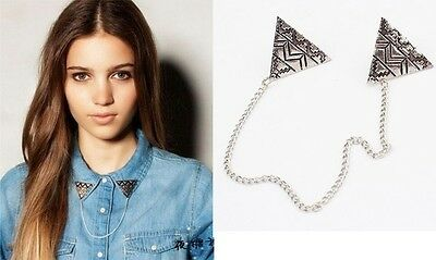 JLM's New Nice Fashion Jewelry Vintage Silver Triangle Chain Collar Pin Brooch