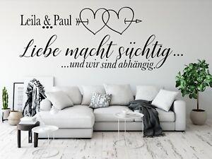 Details zu Wandtattoo Liebe Name Wandtattoo Wohnzimmer Wandsticker Paare  mit Namen pkm314na