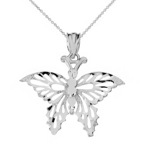 .925 Sterling Silver Filigree Diamond Cut Butterfly Open Pendant Necklace
