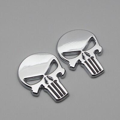2Pcs Chrome Metal The Punisher Skull Car Body Badge Rear Tailgate Trunk Emblem