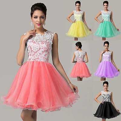 Lace Applique Cheap Short Evening Homecoming Bridesmaid Prom Gowns Lady Dresses