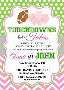 Details About Touchdowns Tutus Football Princess Gender Reveal Boy Or Girl Invitation