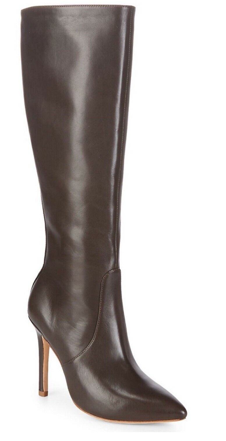 NEW  Halston Heritage  Amanda  Brown Leather Knee High Point Toe Boots Size  8