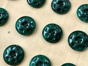 Vtg 70s Lot of 24 Buttons Olive Green Color Buttons 14mm