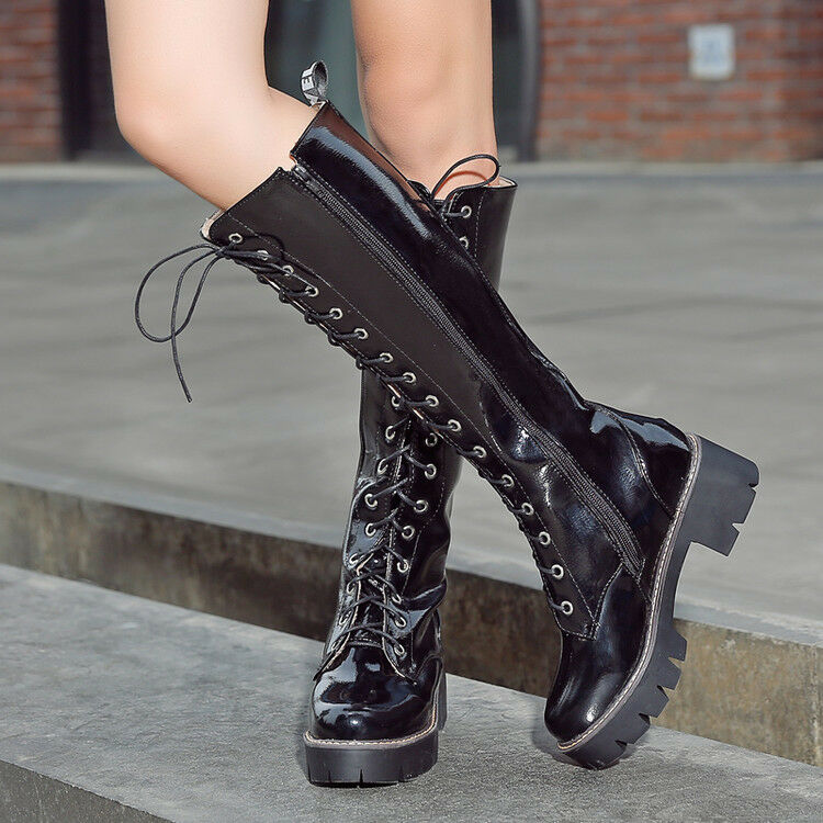 Womens Round Toe Lace Up Knee High Boots Block Chunky Heels Casual Platform shoes