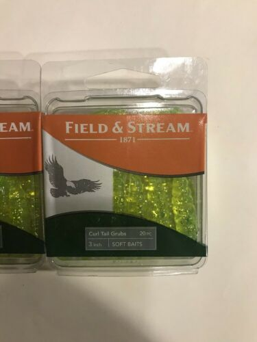 3pks Of 20 Feild And Stream Curl Tail Grubs Chartreuse Glitter 78628