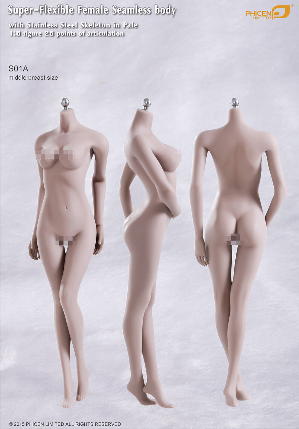 Phicen Female Seamless Body S01A Middle Breast stainless stainless stainless steel Skelenton in PALE 5f4332