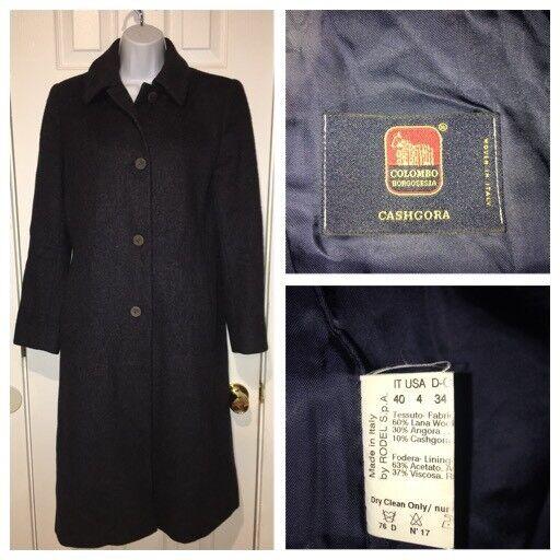 COLOMBO BORGOSESIA bluee Wool Angora Cashgora Coat Sz 4  40 EUC