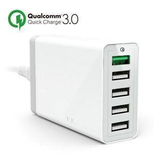 Caricabatteria Veloce USB 5 Porti Adattatore Presa Murale Universale Carica 3.0