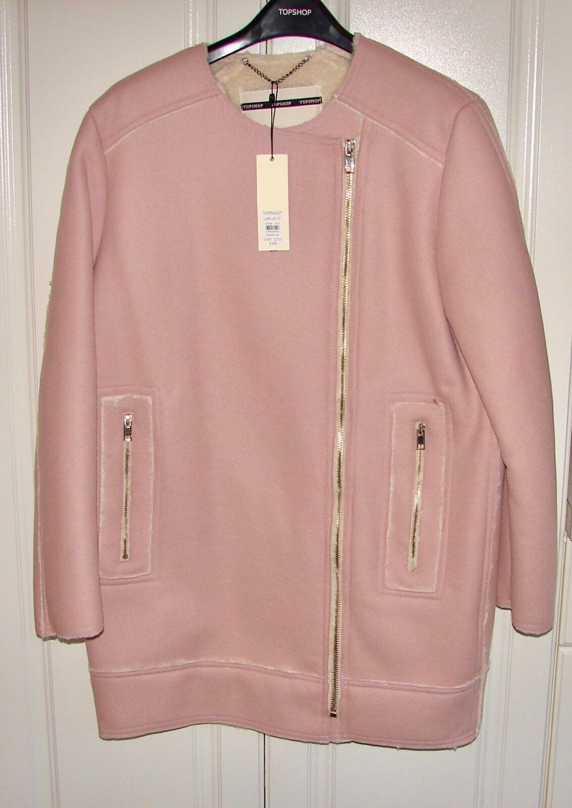 NWT Topshop sz 8 pink wool blend faux shearling zip-front coat