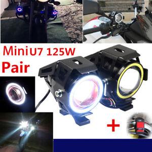 2X-U7-Angel-Eyes-Light-125W-Phare-De-Moto-LED-Brouillard-Projecteur-Commutateur
