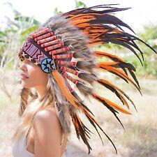 ORANGE INDIAN HEADDRESS Chief War bonnet Costume Native American Halloween