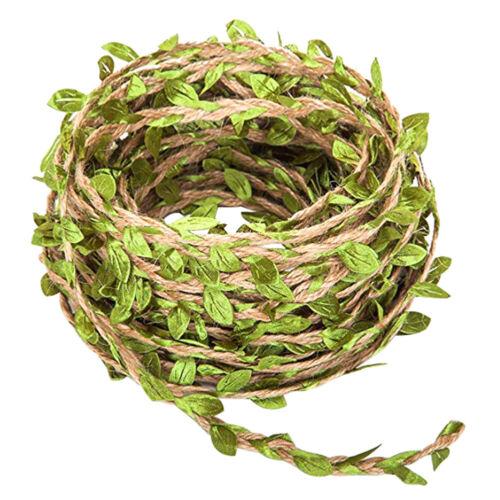 66Ft Artificial Rattan Vine Hemp Rope Foliage Leaf Garland Wedding Party Decor