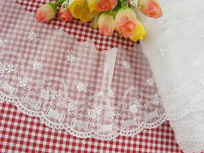 """Wholesale  3.5""""*10yard delicate white  embroidered flower  tulle lace trim  0232"""