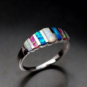 Gorgeous-Silver-Filled-Womens-Wedding-Party-Jewellery-Multi-color-Crystal-Rings