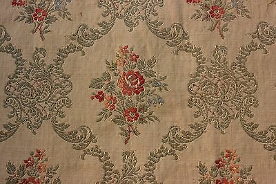 "Vintage French Floral Jacquard Textile Fabric Yardage c.1928~3yds18""LX23""W"