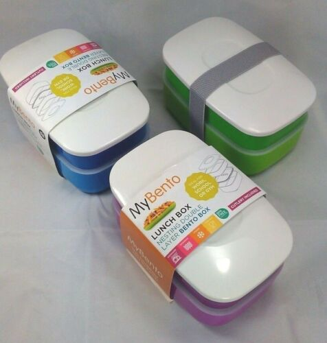 My Bento Nesting double Lunch Box with Cutlery Set /& Lid durable BPA Free
