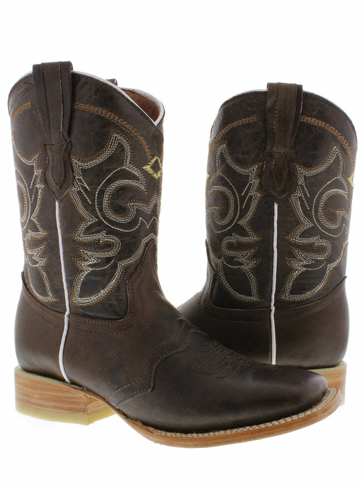 Women's Brown Mid Calf Cowboy Rodeo Leather Wear Casual Square Toe Boots