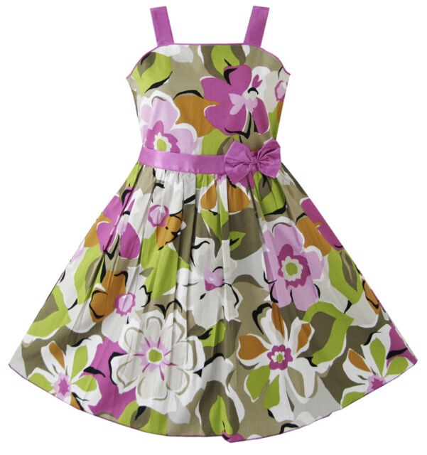 Flower Girl Dress Purple Flower Party Pageant Child Clothes Size 6-14 Formal
