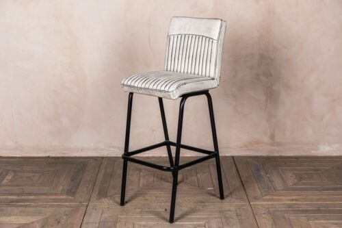 FAUX LEATHER UPHOLSTERED BACKED 66CM BARSTOOL IN VINTAGE WHITE