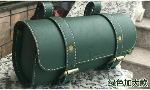 Green Retro Bicycle Seat Saddle Bag Cycling Tail Pannier Bike PU Leather Pouch
