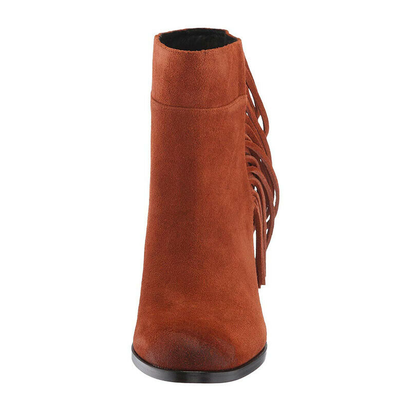 NEW NEW NEW Kenneth Cole NY Alana Women's Bootie Rust Suede Size 6.5 M Fringe Detail a7fd2c