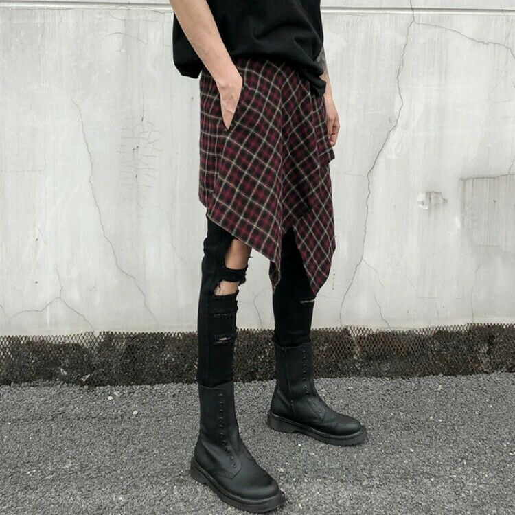 Mens Summer Dark Style Hip Pop Dancewear Skirt Pants apron Haircut Trousers Punk