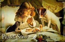Blechschild Pears Soap Seife Kind Mädel Hund Katze Schild Nostalgieschild 20x30