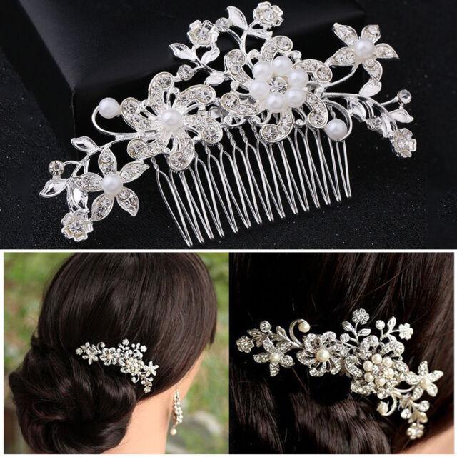 Bridal Hair Pins Pearl Flower Clips Wedding Grip Slide Crystal Comb Grips