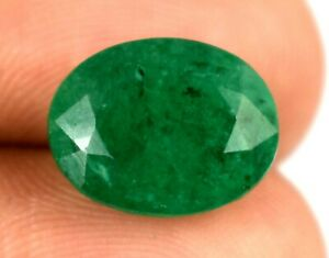 Colombian 7.85 Ct Natural Green Emerald Oval Untreated Gemstone Certified X8369