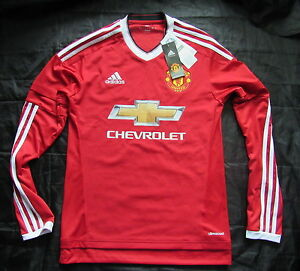 check out 4b0a5 9b1bc Details about MANCHESTER UNITED home LONG SLEEVE shirt jersey ADIDAS  2015-2016 adult SIZE XS