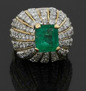 Designer signed heavy 18K YG 8.10CT diamond & emerald dome cluster ring size 6.5