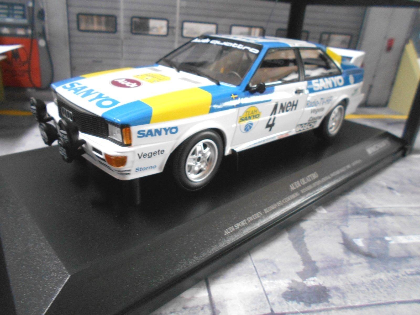 AUDI QUATTRO RALLYE taille 4 Suède 1982 Win #4 Blomqvist SANYO MINICHAMPS 1:18 | Soldes