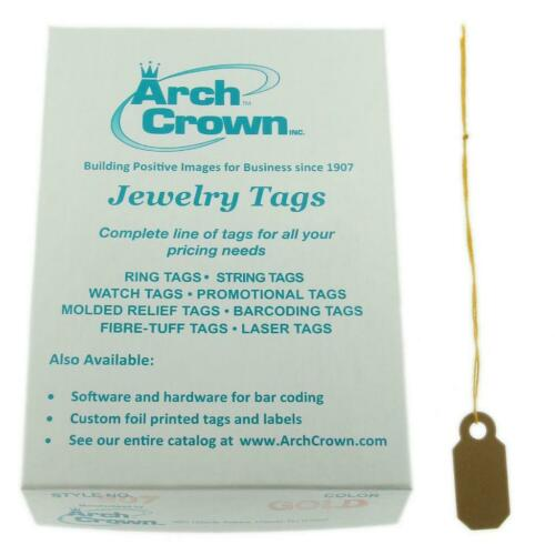 100 Tags Arch Crown Merchandise Jewelry Price Tag Gold Square String Style