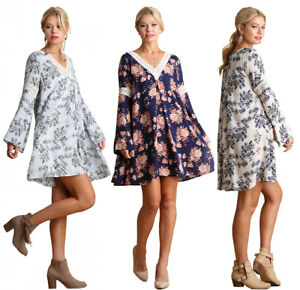 UMGEE-Womens-Long-Bell-Sleeves-Floral-Comfy-Crochet-Flowy-Trendy-Dress-S-M-L