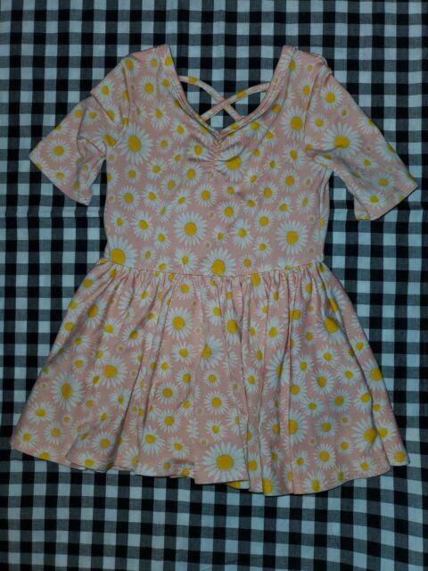 Dot Dot Smile baby girls swing Dress pink white daisies sz 6/12 months