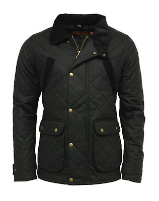 Black Men/'s Game Oxford Quilted Wax Jacket Olive Green