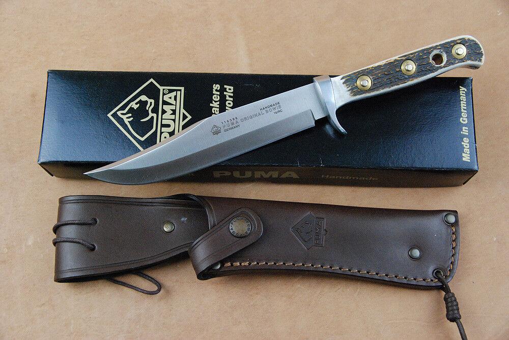 Puma Jagdmesser Bowie mit Hirschhorn Griff und hochwertige hochwertige hochwertige Lederscheide Jagd 4e81fd