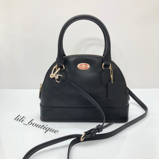 ffc15a43d9 NWT Coach F34090 Mini Cora Domed Sierra Satchel Handbag Purse Leather Black   250